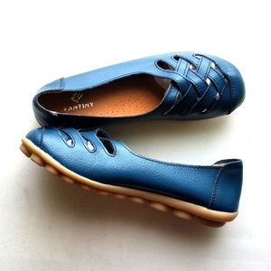 Fantiny Shoe Teal Leather Strap Slip On Loafer 9.5